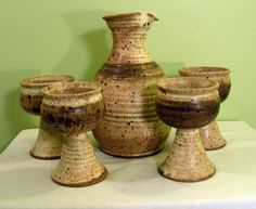 Ceramic Pottery Wine Jug and Goblets.