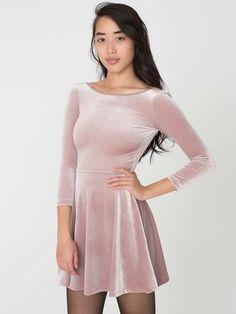 Stretch Velvet Skater Dress | Tienda American Apparel