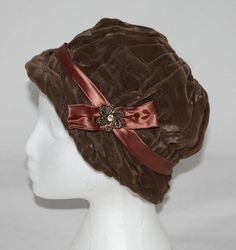 Vintage Hat Women's Brown Velvet Cloche with by ilovevintagestuff, $20.00
