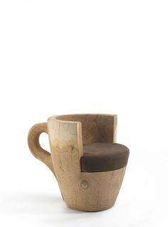 Original design armchair / cedar TAFFEE by Carlo Leonardo Rosa  Riva Industria Mobili