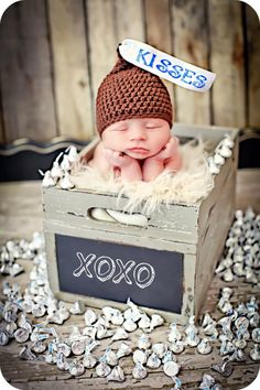 Newborn Photo Prop Baby Kiss Hat. $27.00, via Etsy.