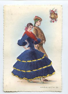 Embroidered silk fabrics Spain flamenco dance ethnic dress 1960s postcard gt25