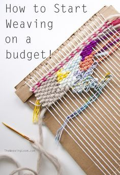 to Start Weaving for Little Cost How to Start Weaving on a BudgetHow to Start Weaving on a Budget Weaving Loom Diy, Paper Weaving, Weaving Art, Tapestry Weaving, Loom Weaving Projects, Rug Loom, Loom Knitting Patterns, Weaving Patterns, Knitting Tutorials