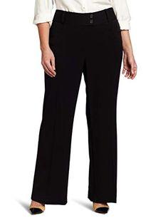Rafaella Women's Plus-Size Curvy-Fit Gabardine Bootcut Trouser, Black, 16W at Amazon Women's Clothing store