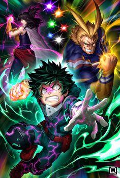 Nana Shimura, All Might, and Izuku Midoriya are perfect wilders of the most powerful and legendary quirk ever. My Hero Academia- One For All My Hero Academia Episodes, My Hero Academia Shouto, Hero Academia Characters, Anime Characters, Manga Anime, Fanarts Anime, Anime Art, Personajes Studio Ghibli, Deku Anime