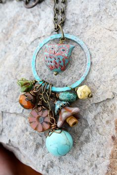 Hibou Necklace - Owl Woodland Nature Glass Beads Copper Brass Chain Patina Handmade