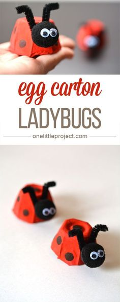 These egg carton ladybugs are such a fun and easy craft for kids! And they'… These egg carton ladybugs are such a fun and easy craft for kids! Easy Crafts For Kids, Craft Activities For Kids, Easy Diy Crafts, Cute Crafts, Projects For Kids, Diy For Kids, Craft Projects, Craft Ideas, Fun Diy