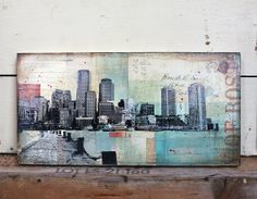 "Free Shipping! Harborwalk No. 1 - 10"" x 20"" original Boston skyline mixed media collage painting on canvas on Etsy, $400.00"
