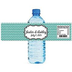 Teal Trellis Morrocan wedding anniversary Engagement party Water Bottle Labels