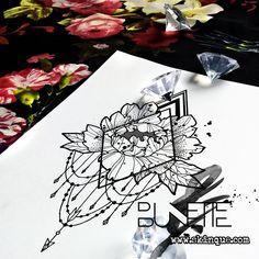 Flower peony geometric dotwork girl tattoo inspiration idea bunette