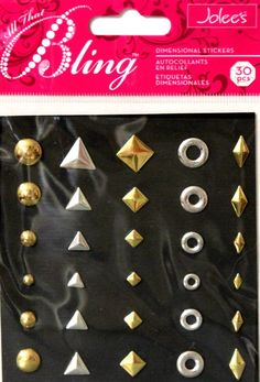 Jolee's All That Bling Variety Silver and Gold Studs Dimensional Stickers Embellishments