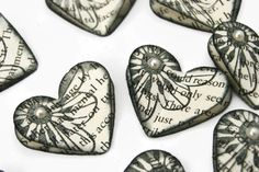 Vintage Paper Heart Wedding Embellishments scrapbooking card making table decor