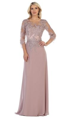 May Queen - Illusion Quarter Sleeve Appliqued Sheath Gown Rembo Styling, Mother Of The Bride Dresses Long, Mothers Dresses, Chiffon Evening Dresses, Chiffon Dress, Lingerie Fine, Ruffle Beading, Lise Charmel, Bride Groom Dress