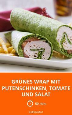 Grünes Wrap mit Putenschinken, Tomate und Salat - smarter - Zeit: 50 Min. | eatsmarter.de