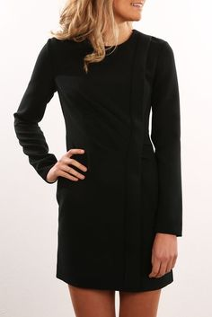 Come Apart Longsleeve Dress Black