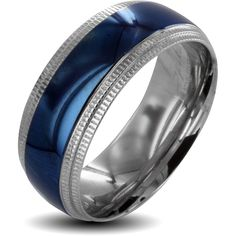 This two-tone stainless-steel wedding band for men is the unique choice when a common yellow band doesn't move you. This band stands out, with a highly polished silver and blue finish and ridged edges that give the band a stylish flare.