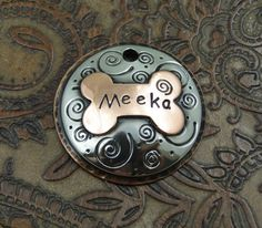 Custom Pet ID Tag Domed Spiral Dog ID Tag by IslandTopCustomTags, $24.00