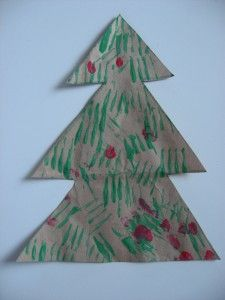 Use a fork to paint a Christmas Tree