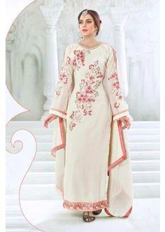 couleur blanche georgette salwar kameez, - 59,00 €, #Robeindienne #Salwarkameezfemme #Salwarkameezmariage #Shopkund