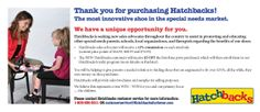 Get involved with Hatchbacks and help parents of special needs children.  Contact customer service for more information!