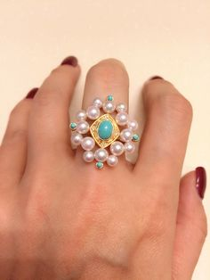 Japanese Ayoki pearls and turquoise ring , set in 18k yellow gold