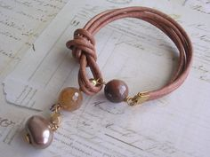 Leather Lariat Bracelet, Knotted with Agate Gemstone Sale