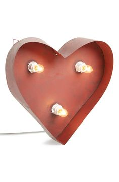 Love this red lighted metal décor heart!