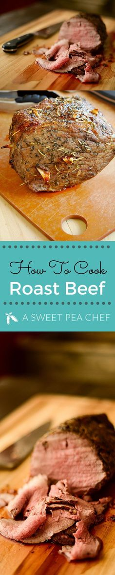 How to Cook Roast Beef Learn how to cook roast beef -- with this is deliciously moist, tender and flavorful roast beef recipe. Lacey Baier www. Easy Roast Beef Recipe, Cooking Roast Beef, Roast Beef Recipes, Meat Recipes, Cooking Recipes, Recipies, Cooking Bacon, Healthy Recipes, Oven Roast Beef