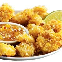 Coconut Shrimp with yummy  Pineapple Coconut Mango Tequila Sauce and Corn Flakes
