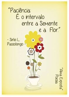Paciência é o intervalo entre a Semente a Flor.
