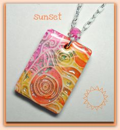 Florida Sunset Pendant    polymer clay, ink, silver leaf, resin
