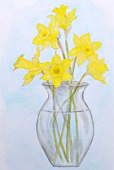 easy tutorial for painting daffodils with watercolor effect using craft paints. Pattern included.