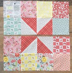 Pinwheels & Patches Quilt Tutorial April 2018 by Amanda 2 Comments Pinwheel Quilt Pattern, Quilt Square Patterns, Scrap Quilt Patterns, Square Quilt, Loom Patterns, Scrappy Quilts, Easy Quilts, Mini Quilts, Quilting Fabric