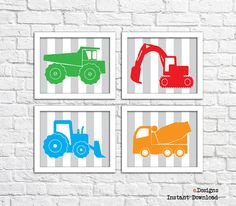Printable Nursery Wall Art Construction Vehicles Wall by eDesignss Bathroom Wall Decor, Nursery Wall Art, Boy Room, Kids Room, Printables, Construction, Vehicles, Unique Jewelry, Frame