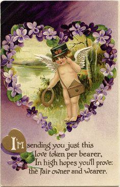 free vintage valentine clip art cherub and purple violets Valentine Cupid, My Funny Valentine, Victorian Valentines, Vintage Valentines, Vintage Labels, Vintage Postcards, Vintage Images, Heart Illustration, Valentines Greetings