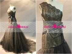 RW209 Lace Wedding Dress Brown Mermaid Bridal por Aegeanbridal
