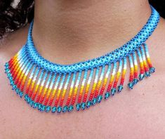 Choker with fringes, choker handmade by Mexican artisans, huichol beaded choker,… - Perlen Schmuck Beaded Jewelry Designs, Bead Jewellery, Necklace Designs, Beaded Choker, Beaded Earrings, Tiffany Jewelry, Perler Bead Mario, Bead Loom Bracelets, Seed Bead Necklace