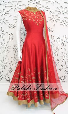 PalkhiFashion Exclusive Full Flair Dark Pink Color Outfit Nicely Handmade With Stones and Embroidered Work On Neck and Bottom With Nice Design Indian Fashion Dresses, Indian Gowns Dresses, Dress Indian Style, Indian Outfits, Indian Clothes, India Fashion, London Fashion, Bridal Dresses, Girls Dresses