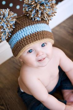 Items similar to LOOK More Colors Available White   Blue Newborn Baby Boy  Crochet Sack Hat FREE SHIPPING on Etsy 6bb93bd9fe4