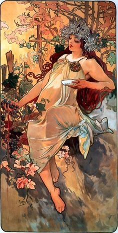 Art nouveau poster by Mucha. Don't miss the museum dedicated to his art. Panska, Prague.