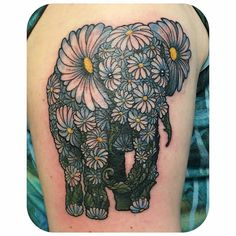 one of the best tattoos I've seen @rebekatattoos - A daisy elli memorial for Emily thanks so much for the challenge!! @scorpiontatu . #elephant #elephants #elephantlove