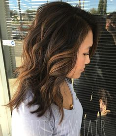 Copper- Toned Waves on Brown Hair : This two toned look is perfect for traveling from a beach day to a formal event at night! The lighter highlights create a softness that drawa attention to the silhouette of your hairstyle as if your hair has a natural halo of light.