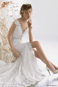 Eve of Milady #couture 2014 #bridal collection: cap sleeve #wedding dress style 4314 #weddingdress #weddinggown