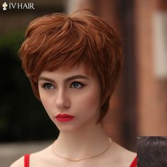 Fluffy Natural Wave Siv Hair Vogue Short Multicolor Human Hair Wig For Women