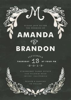 chalkboard + ecru color scheme = chic. minted wedding invitation, chalkboard wedding by alethea and ruth