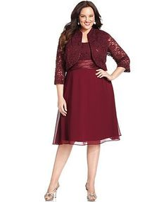 $98 R&M Richards Plus Size Sequined Lace Dress and Jacket: