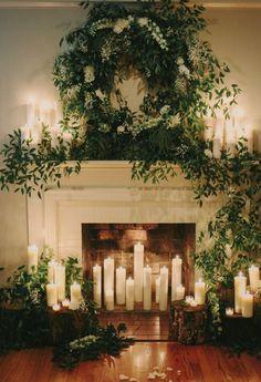 New wedding winter christmas candles Ideas Winter Wedding Decorations, Ceremony Decorations, Christmas Decorations, Holiday Decor, Ceremony Backdrop, Winter Weddings, Wedding Backdrops, Backdrop Ideas, Wedding Fireplace Decorations
