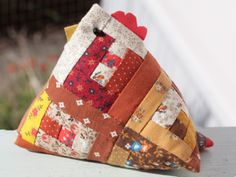 log cabin block chicken pin cushion