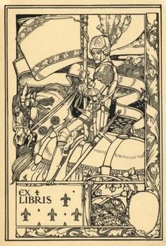 Harold Nelson ~ St. George and the Dragon ~ Ex-libris for anon ~ 1905 ~ Harold Edward Hughes Nelson (1871-1948), usually known simply as Harold Nelson, was an artist, illustrator, designer of bookplates, advertisements and postage stamps, copper etcher and engraver, and lecturer. He signed his works with the initials N. or H.N.