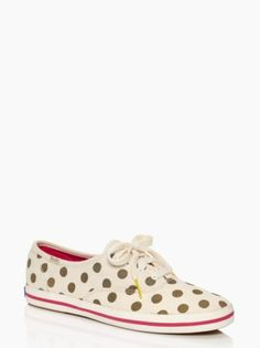 0ee09270a6d3 The perfect run around town shoe for a glamorous girl. Gold polka dot pumps  - keds for kate spade new york kick sneaker